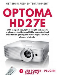 OPTOMA HD27E 1080P 3D DLP HOME ENTERTAINMENT PROJECTOR